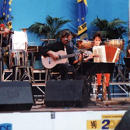 OOSTENDE, 11 JULI 1996, Yves Bondue, Dirk Van Esbroeck, Christel Borghlevens en Guido Desimpelaere, oostende, 11 juli 1996