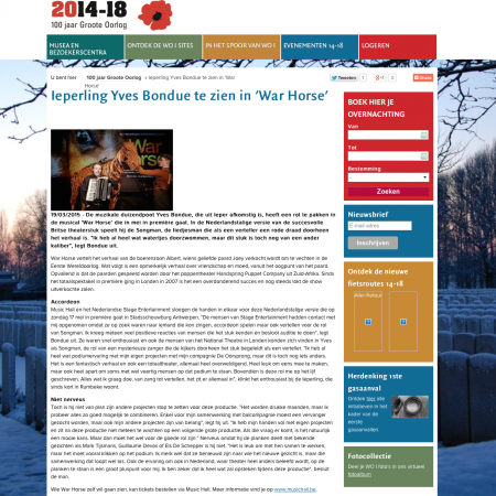 WAR HORSE, Yves Bondue in Wart Horse, HLN 19 03 2015